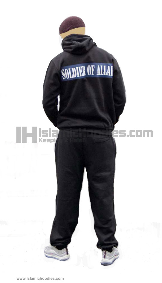 Soldiers of Allah on black Islamic tracksuits