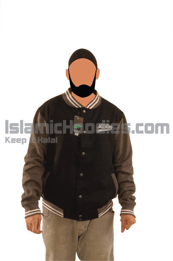 Black And Grey Muslim Baseball Jacket