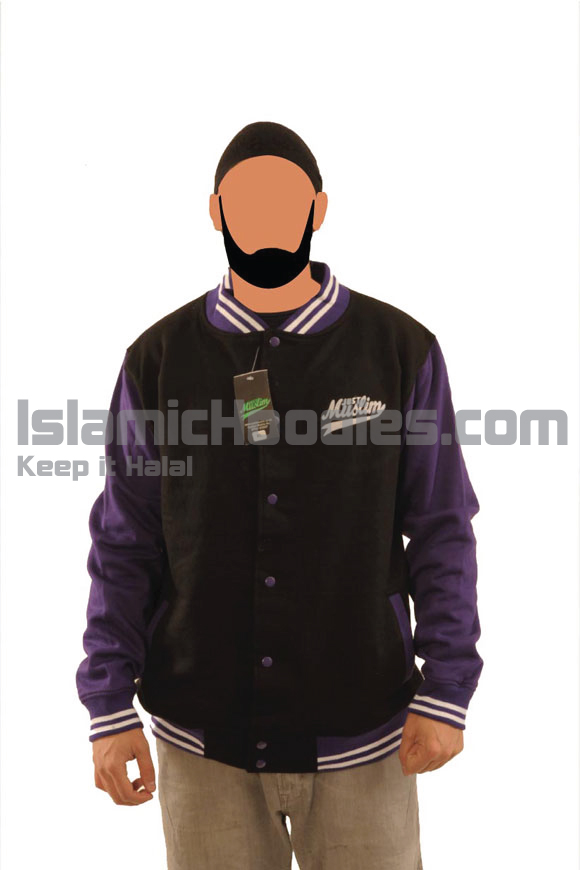Black And Purple Muslim Baseball Jacket