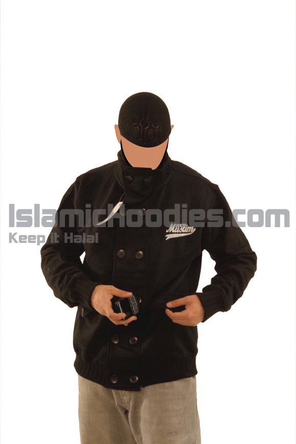 Black Button Stylish Muslim Jacket