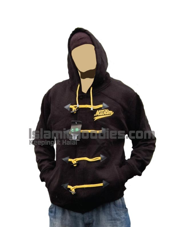 black islamic hoodie yellow lace