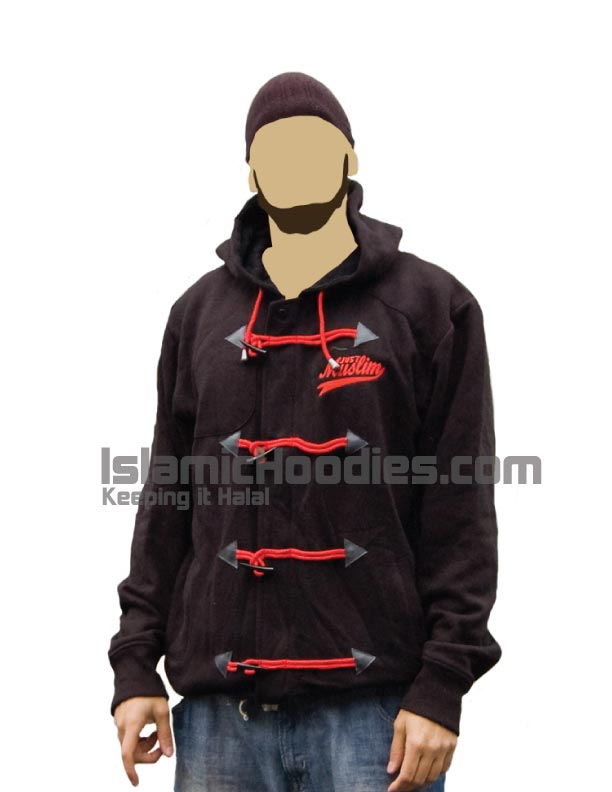 black islamic hoodies red lace