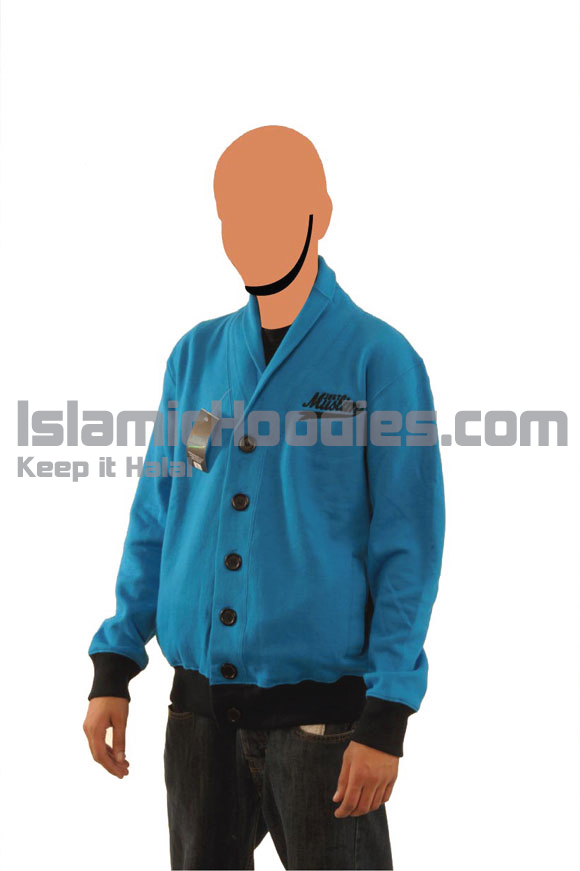 Blue & Black Button Muslim Cardigen
