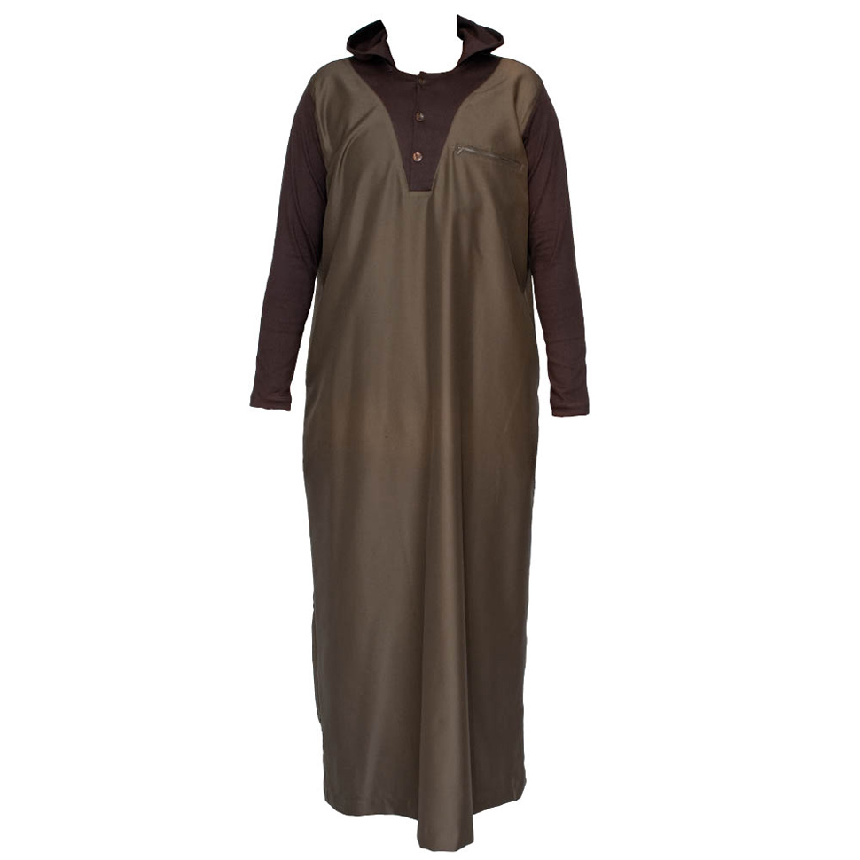 Brown Color V-Neck Hooded Jubba Thobe