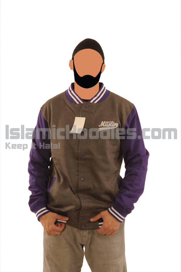 Dark Grey And Purple Islamic Baseball Jacket