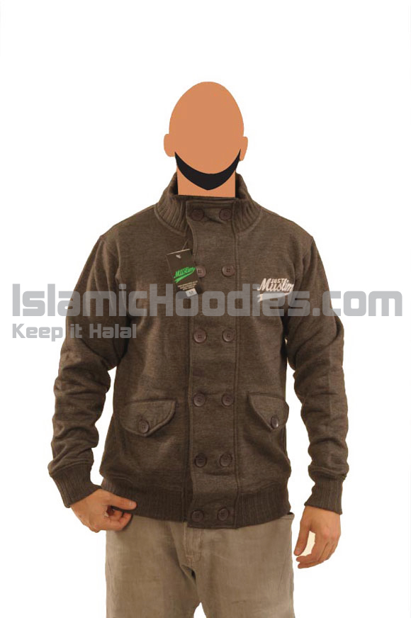 Dark Grey Button Islamic Jacket