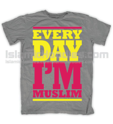 Every Day Im Muslim Pink Tee Grey