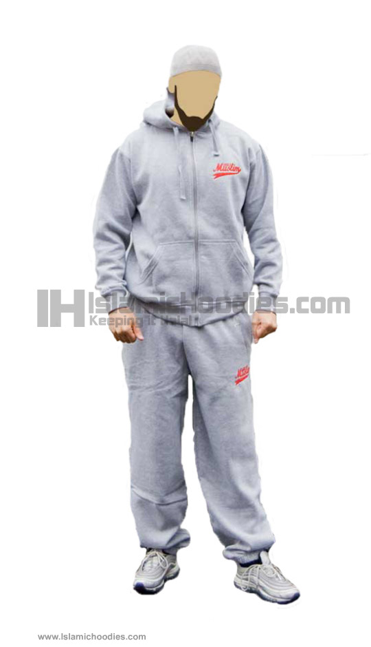 Gray Islamic tracksuits red just muslim logo