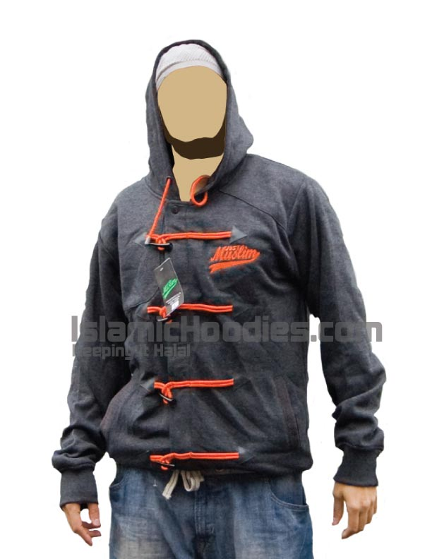 Gray black islamic hoodie orange lace