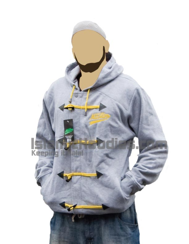 Gray islamic hoodie yellow lace