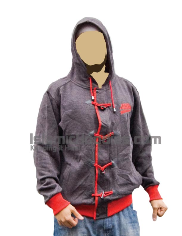 light gray islamic hoodie red lace
