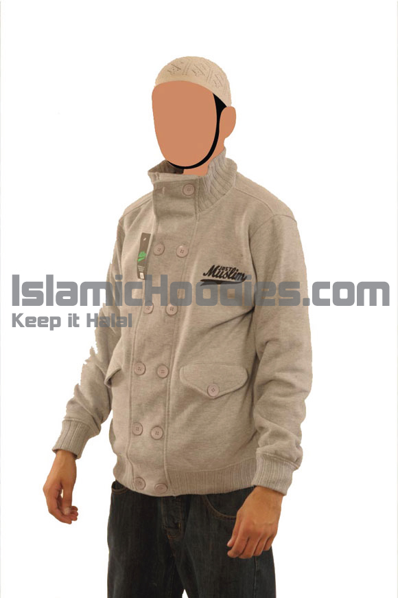 Light Grey Button Islamic Jacket