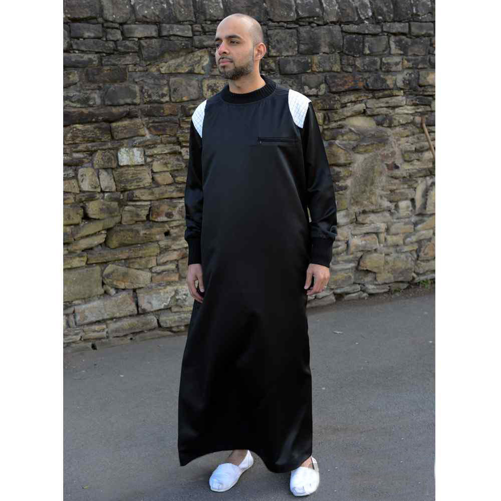 Mens Patch Black White Muslim Jubba