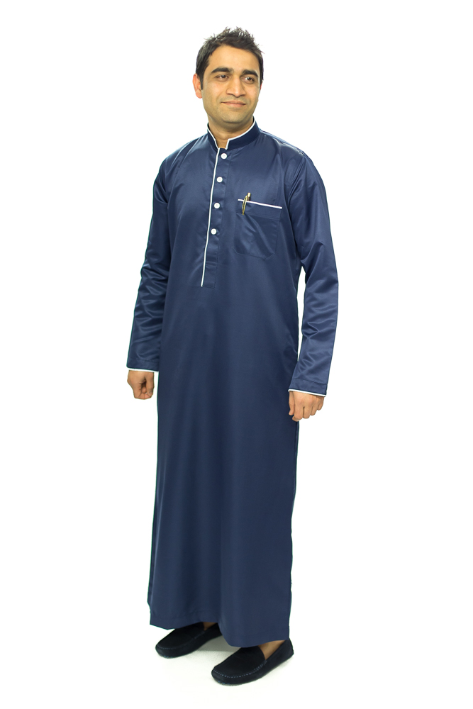 New Mens Nevy Blue Pipping Jubba