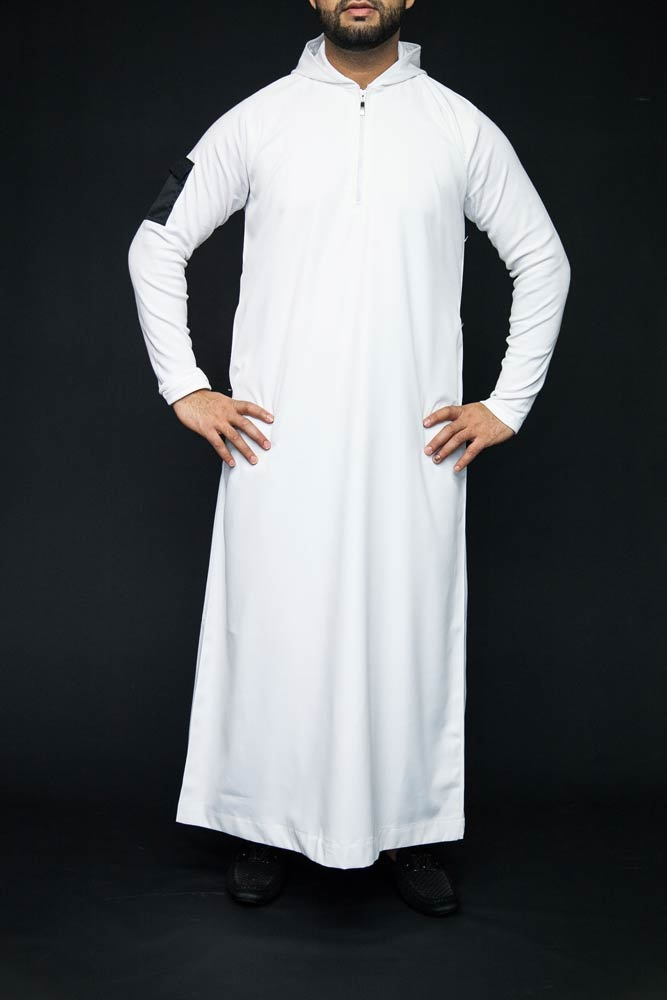 New White Hooded Mens Islamic Jubbah