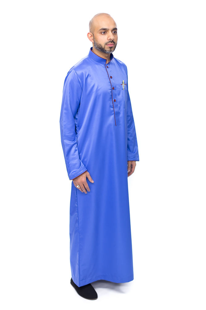 New Mens Blue Pipping Jubba