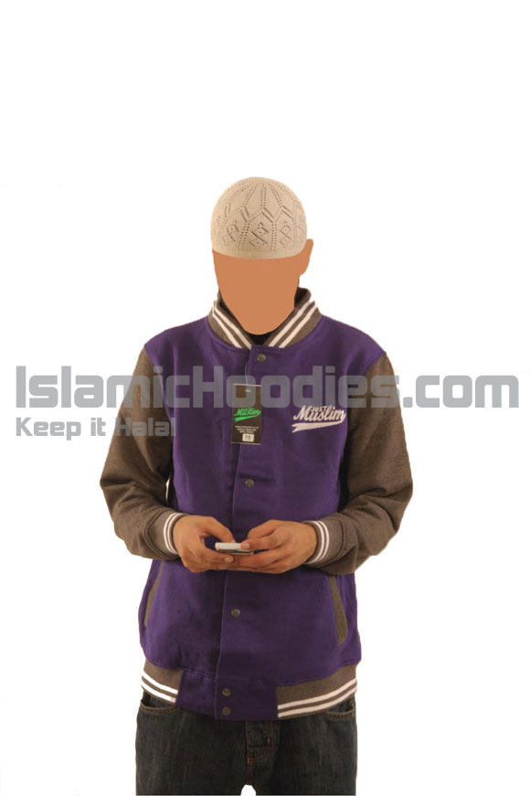 Purple And Grey Baseball Islamic Stylish Jacket